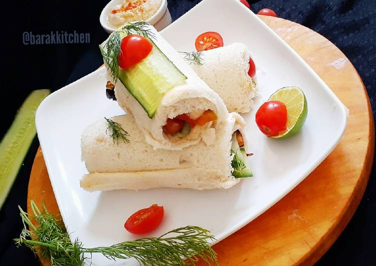 Step-by-Step Guide to Prepare Speedy Grilled Veg Hummus Rolls