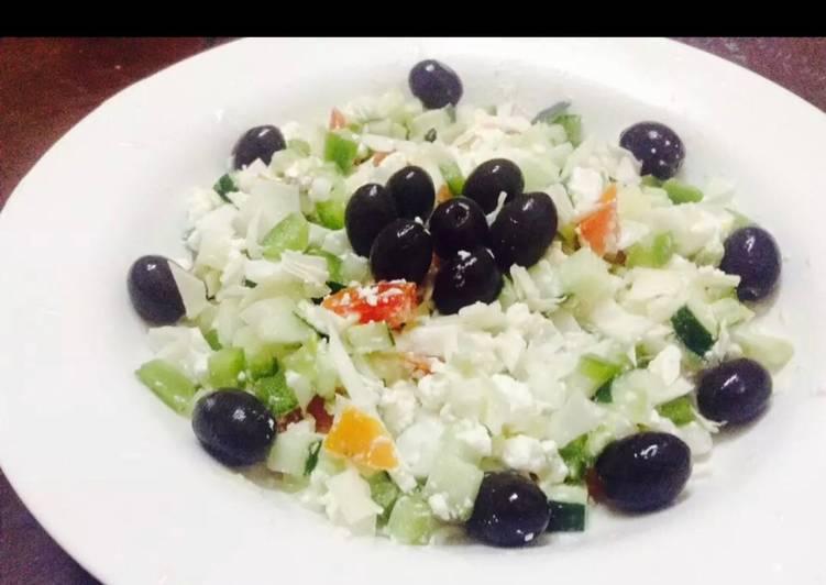 Feta cheese salad and black olives
