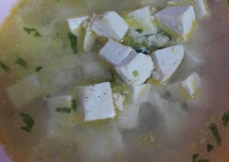 Sup tahu dengan ayam giling (makanan anak 1 tahun +)