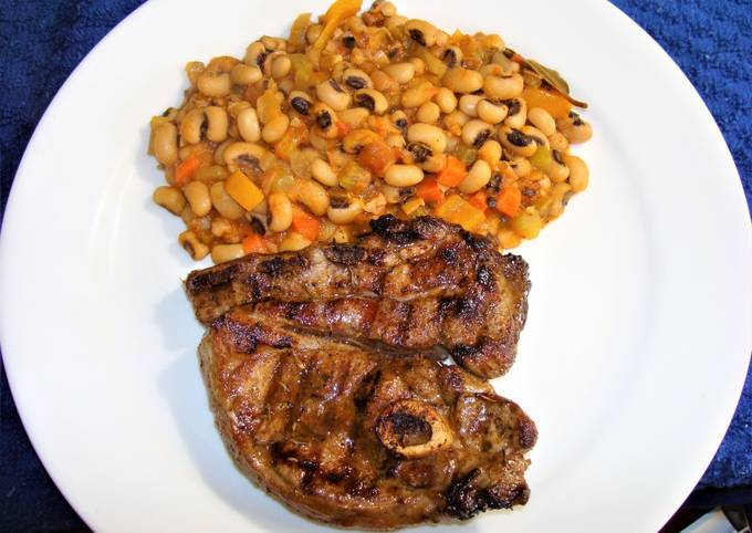 Step-by-Step Guide to Make Super Quick Homemade GRILLED CAJUN LAMB CHOPS AND BLACK EYE PEAS. JON STYLE