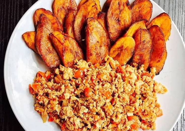 Scrambled eggs and Fried Plantain