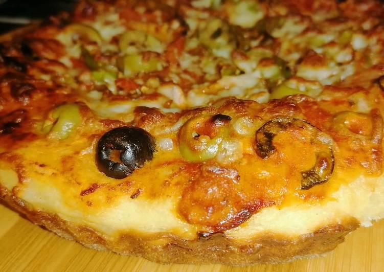 كيكه البيتزا المكسيكيه بالخضار والصويا صوص ومحشيه الاطراف بالجبن