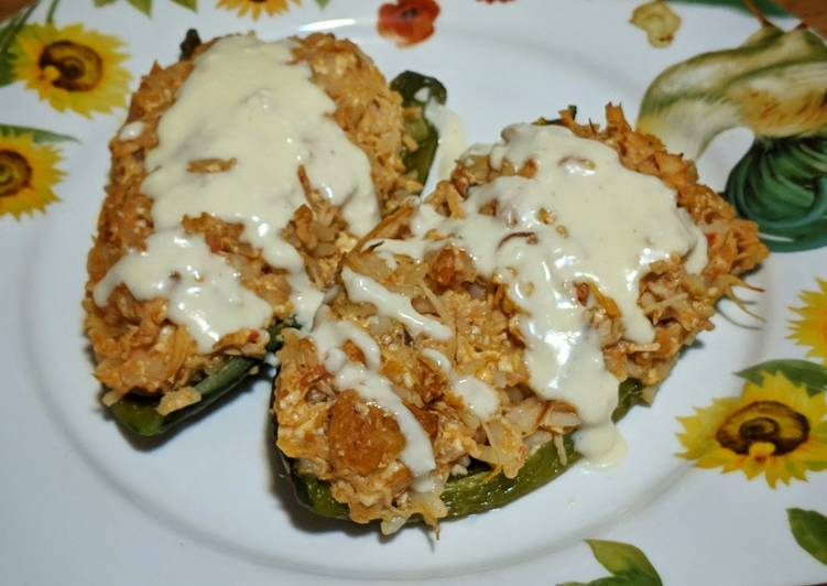 Recipe of Perfect Roasted Poblano Peppers with Chicken & Queso Cheese Sauce
