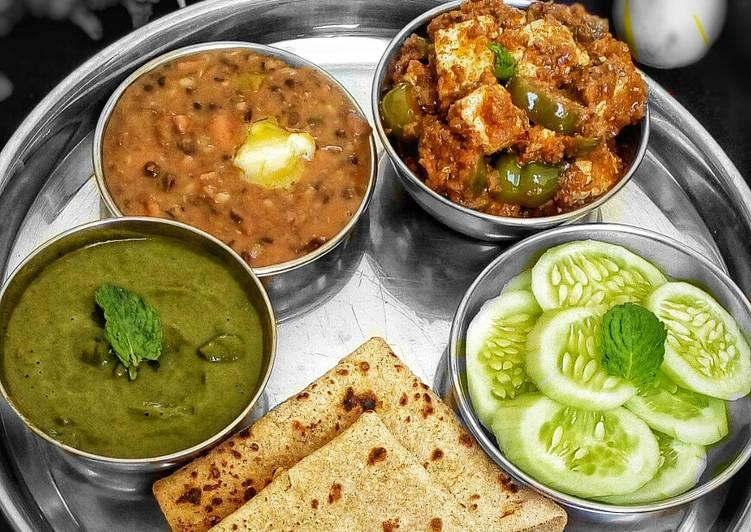 Step-by-Step Guide to Make Quick Punjabi Thali (dal makhani, paneer tikka gravy, mint chutney)