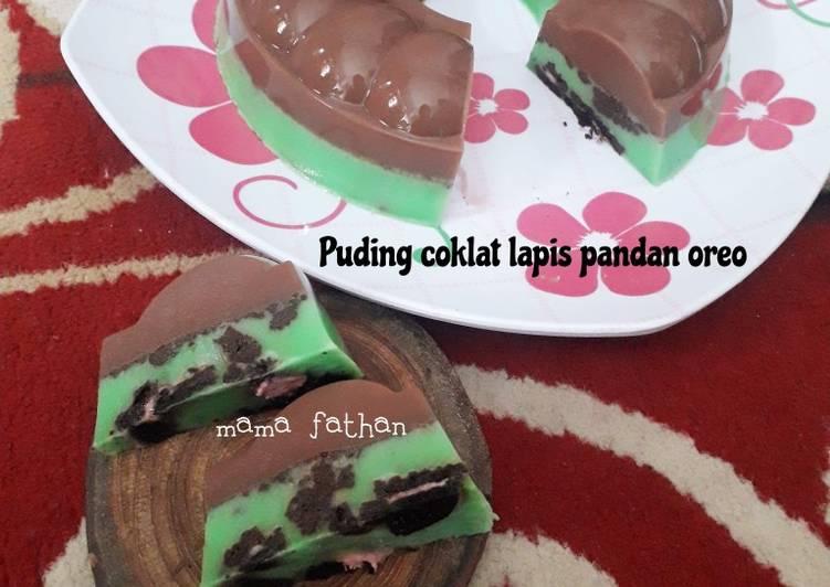 Puding coklat pandan oreo