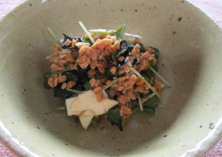 Mixed Salad with Natto (fermented soy beans) and White Radish Sprouts