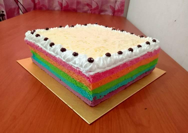 Steamed Rainbow Cake