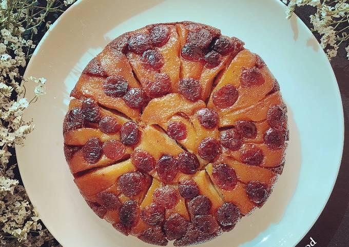 Cake renversé aux poires et cranberries  Ottolenghi @4PassionFood #Pâques