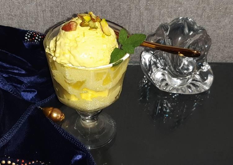 25 Minute Steps to Make Quick No churn mango ice cream