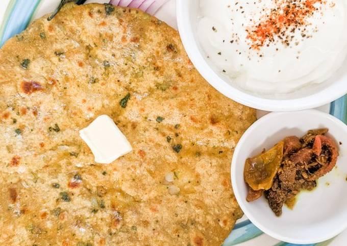 Potato paranthas with whole wheat & veggie dough