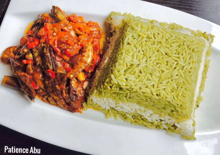 Recipe of Favorite Green, white rice and Tiger prawns sauce