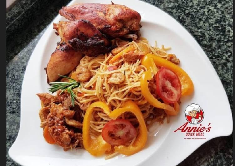 Sea food pasta, Fried chicken and shrimp/shredded chicken sauce