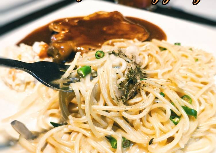 Spageti Carbonara bersama Ayam Panggang Ala CN #DaporAzahZara - velavinkabakery.com
