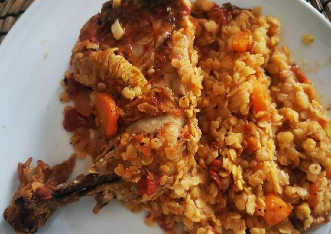 Ragoût de lentilles corail poulet et tomates