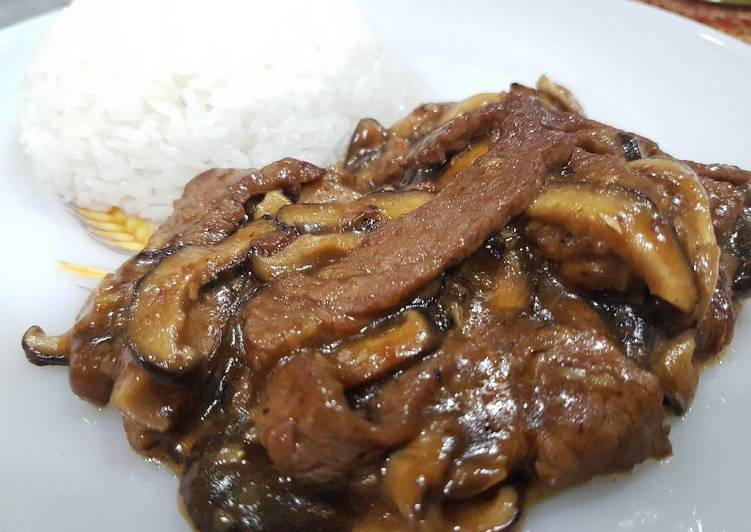 Beef and Mushroom in Hoison Sauce