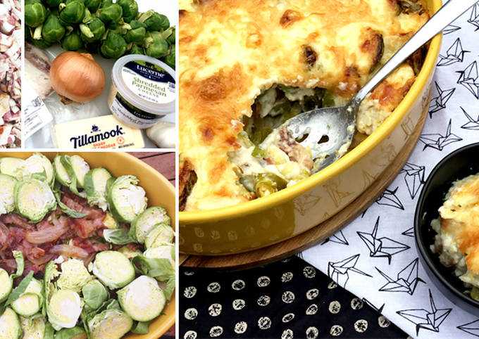 Wagyu Beef Bacon and Brussels Sprouts Au Gratin