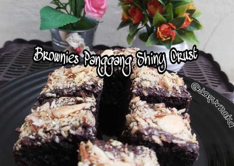 082》Brownies Panggang Shiny Crust Kriuk di luar Lembut di dalam
