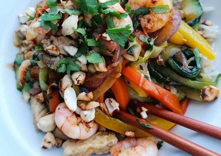 Recipe of Any-night-of-the-week Nutty Pork, Prawn and Mega Veg