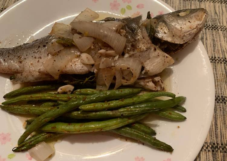Oven baked lemony sea bass