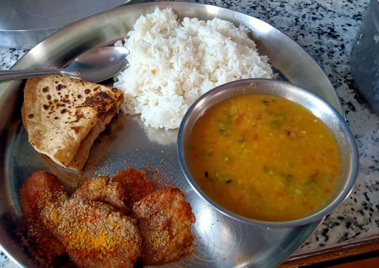 Dal Rice and Arbi Fry