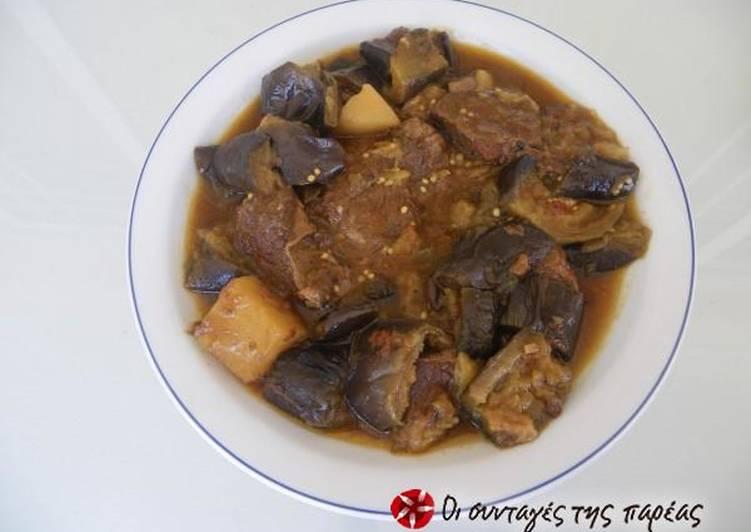 How to Prepare Perfect Aubergines skordostoumpi with potatoes à la Zante