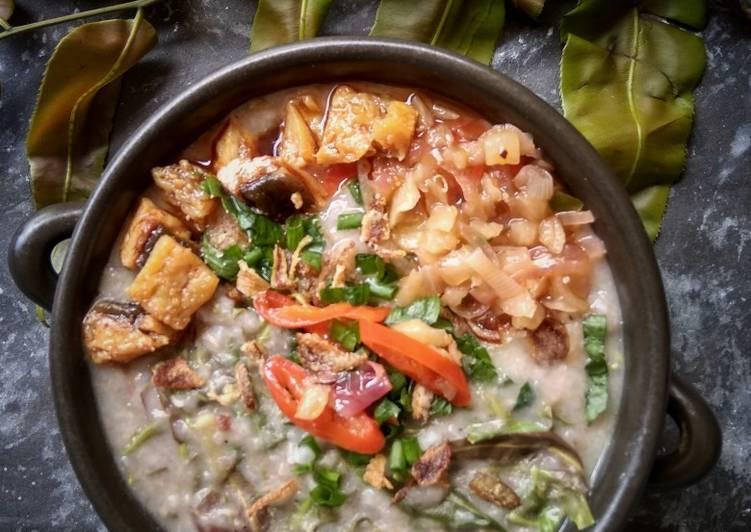 Bubur Nasi Pucuk Paku Merah - resepipouler.com
