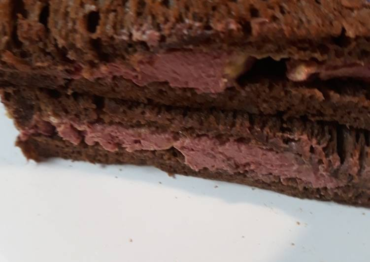 Recipe of Homemade Braunschweiger on Buttered Pumpernickel Rye