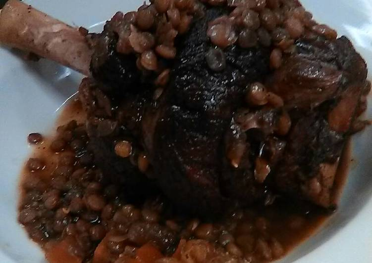 Lamb Shank w/ Lentils and Country Vegetables