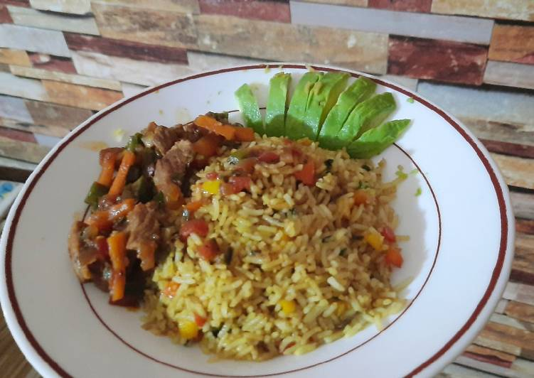 Recipe of Homemade Vegetable rice and beef stew
