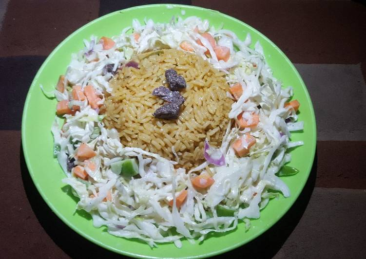 Easiest Way to Prepare Yummy J Rice with beef salad