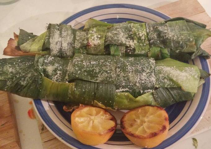 Salt cured, leek wrapped trout, stuffed with couscous pilaf