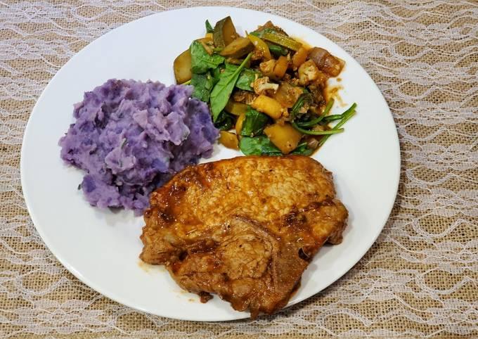 Chipotle Pork Chops w/ Garlic Purple Potatoes and Veggie Medley