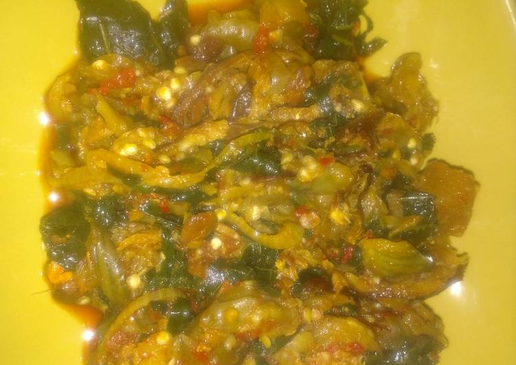 Steps to Prepare Super Quick Homemade Garden egg sauce with sprinkles of ugwu leaves