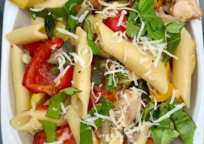 Grilled Summer Veggie Pasta with Chicken