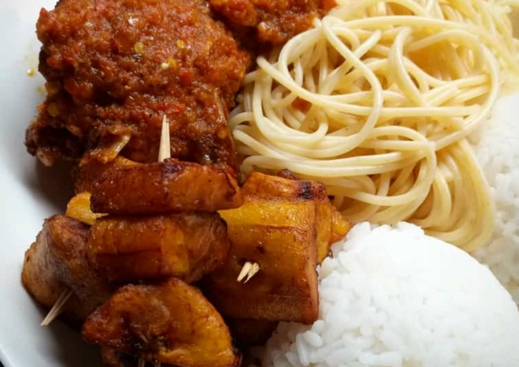 Rice,spagetti fried plantain with beef