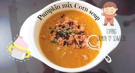 Hình ảnh món Pumpkin mix Corn Seafood soup - Súp bắp bí đỏ cá hồi