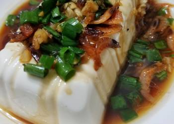 How to Prepare Appetizing Chinese Steam Tofu with dried shrimp garlic soya sauce