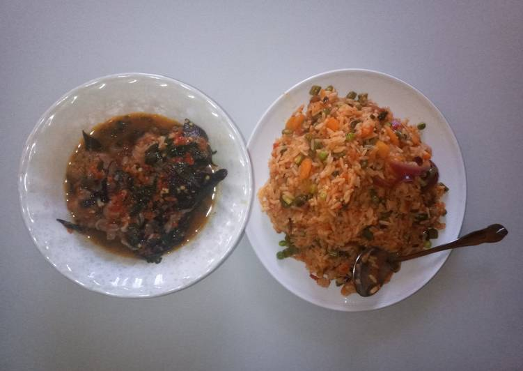 Vegetable jallof rice with catfish peppersoup