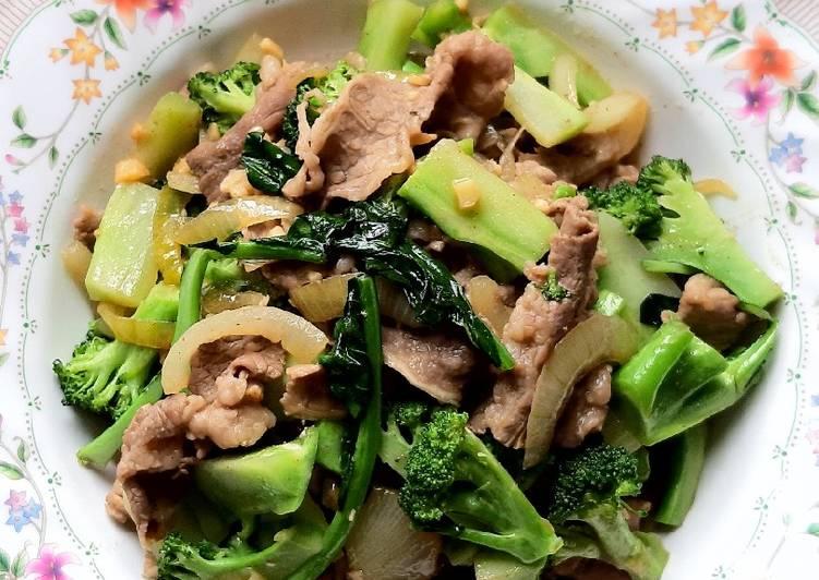 Cah brokoli dan daging sukiyaki