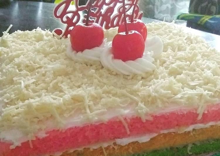 Rainbow Cake (Kue Ultah) Birthday Cake - cookandrecipe.com