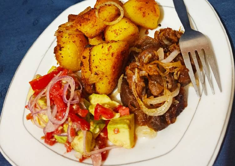 Pan roasted potatoes.....served with pan fried goat meat