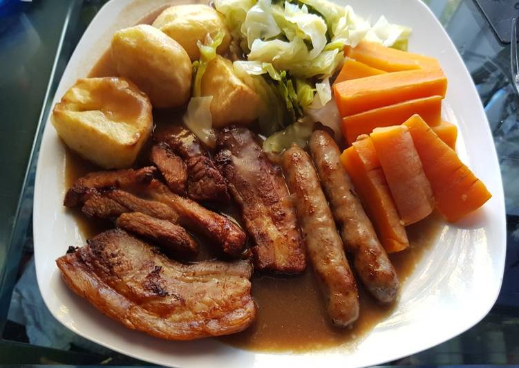 Recipe: Delicious Belly pork and Pork Sausage Roast. 😘