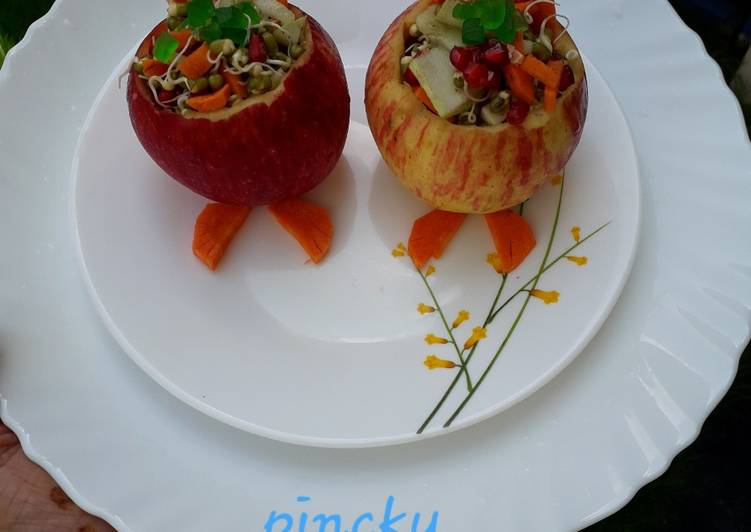 Recipe of Any-night-of-the-week Apple stuffed with sprout &fruits kid's special