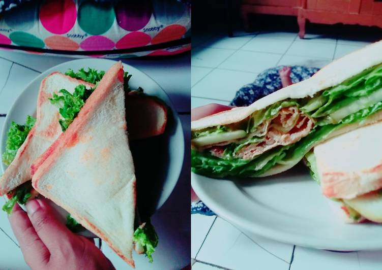 Resep Roti berlapis/sandwich Bikin Jadi Laper