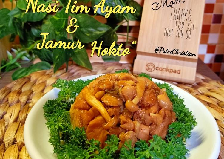 Nasi tim ayam & Jamur Hokto