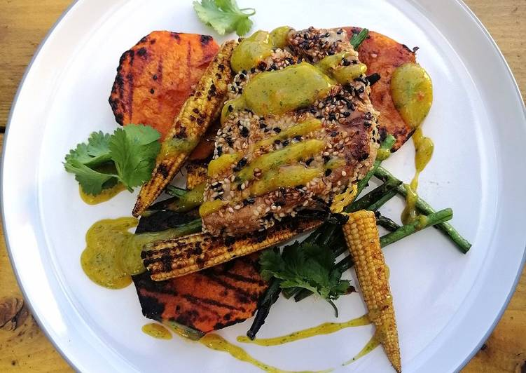 How to Prepare Perfect Sesame crusted tuna, grilled veg/mango,lime and coriander sauce