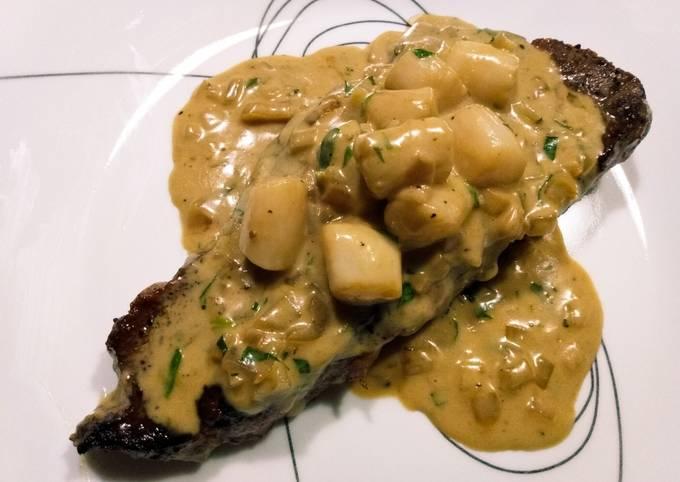 Steak, scallops, and cream