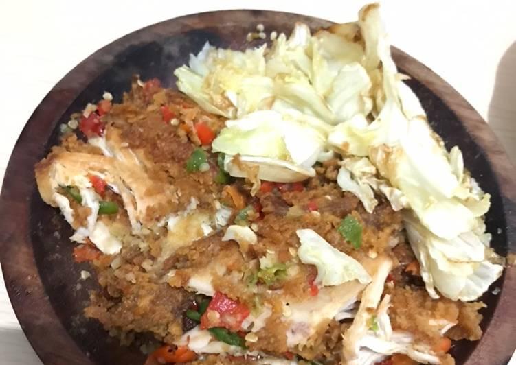 Ayam geprek dan kol goreng simpel