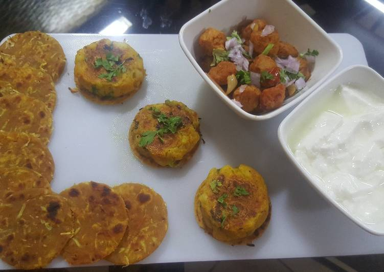 Bottle gourd (lauki) Paratha with fried soya chunks and aloo tikki