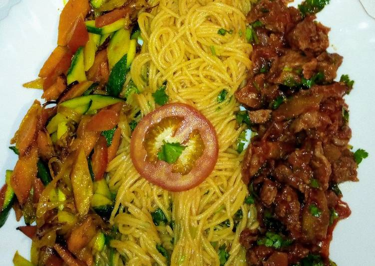 Simple Way to Make Award-winning Spaghetti on tomato sauce,wet fry beef, sauteed vegetables..,